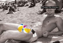 man on miami beach with itwo beach balls photoshopped on man balls. Miami Story, Miami Beach story