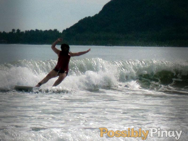 Surfing in Baler, Australia