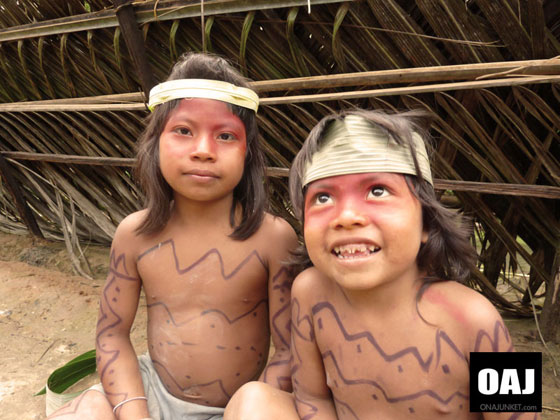 Laughing kids of the Huaorani tribe.