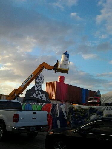 Large Spraycan in Miami Design District During Art Basel