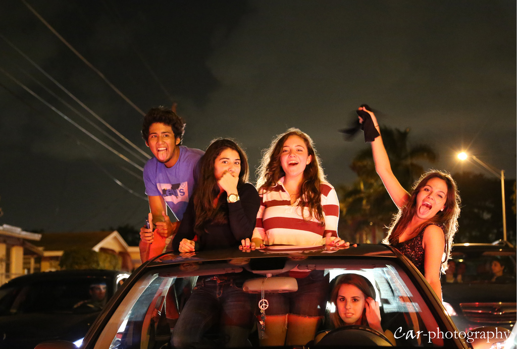 Miami heat fans celebrate in car parade at night
