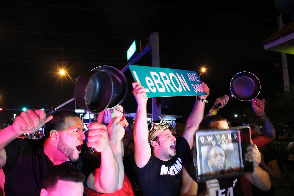 Heat fans celebrating NBA championship win