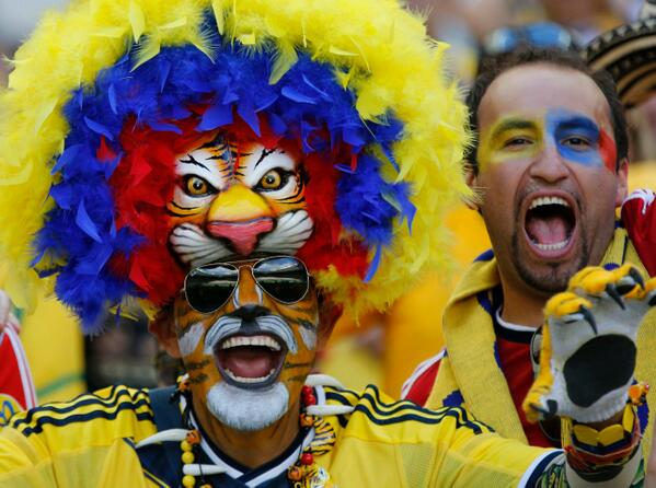 crazy world cup fans, colombia