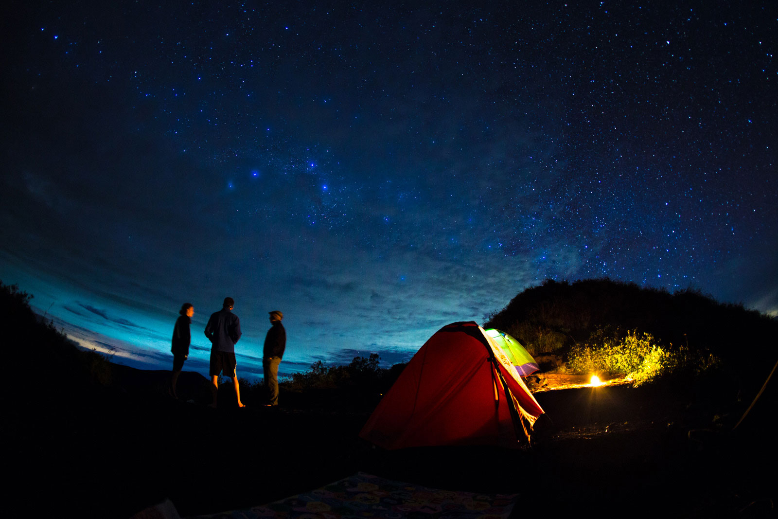 camping outdoor, under the sky