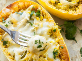 Green chile chicken spaghetti squash recipe